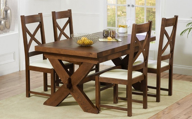 4 Seater Dark Wood Dining Table Sets