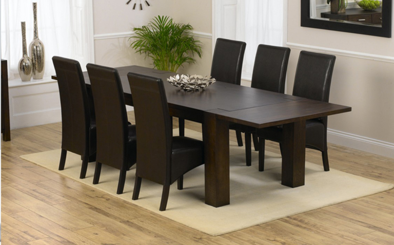 6 Seater Dark Wood Dining Table sets