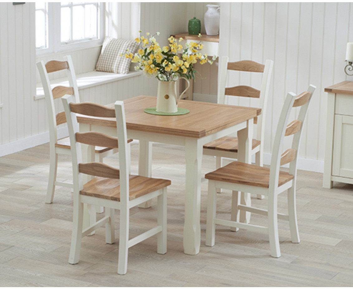 Oak and Cream Painted Dining Table Sets