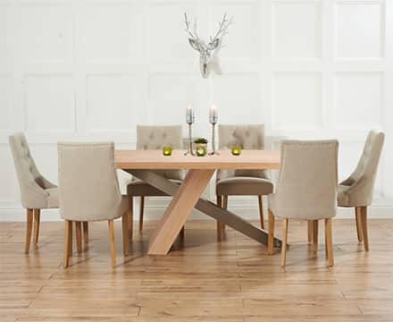 6 Seater Oak Dining Table Sets