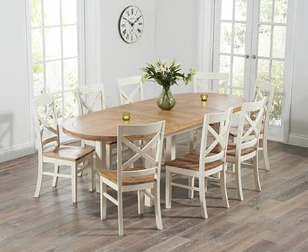 Oval and Round Oak Dining Table Sets