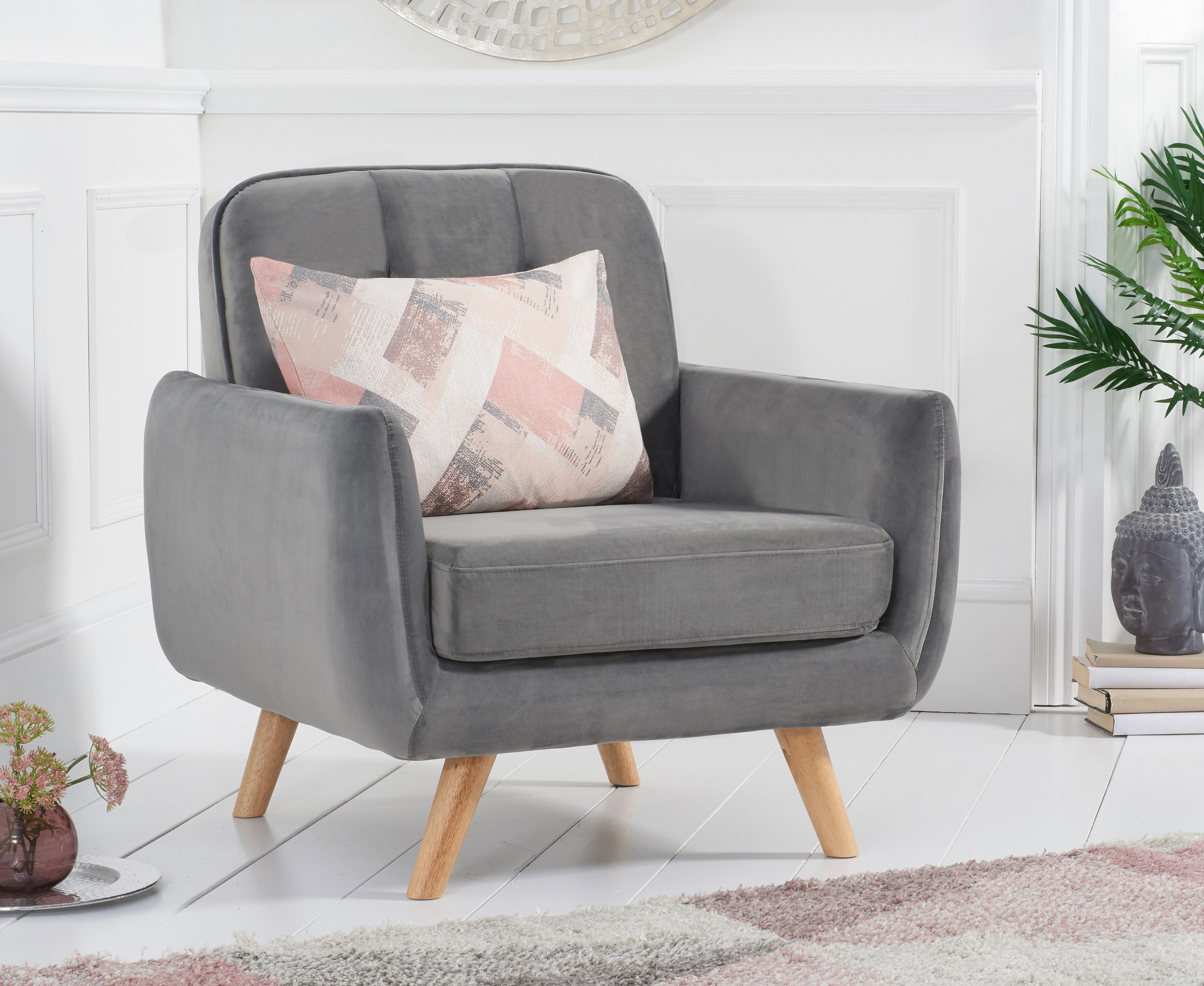 Product photograph showing Coby Grey Velvet Armchair