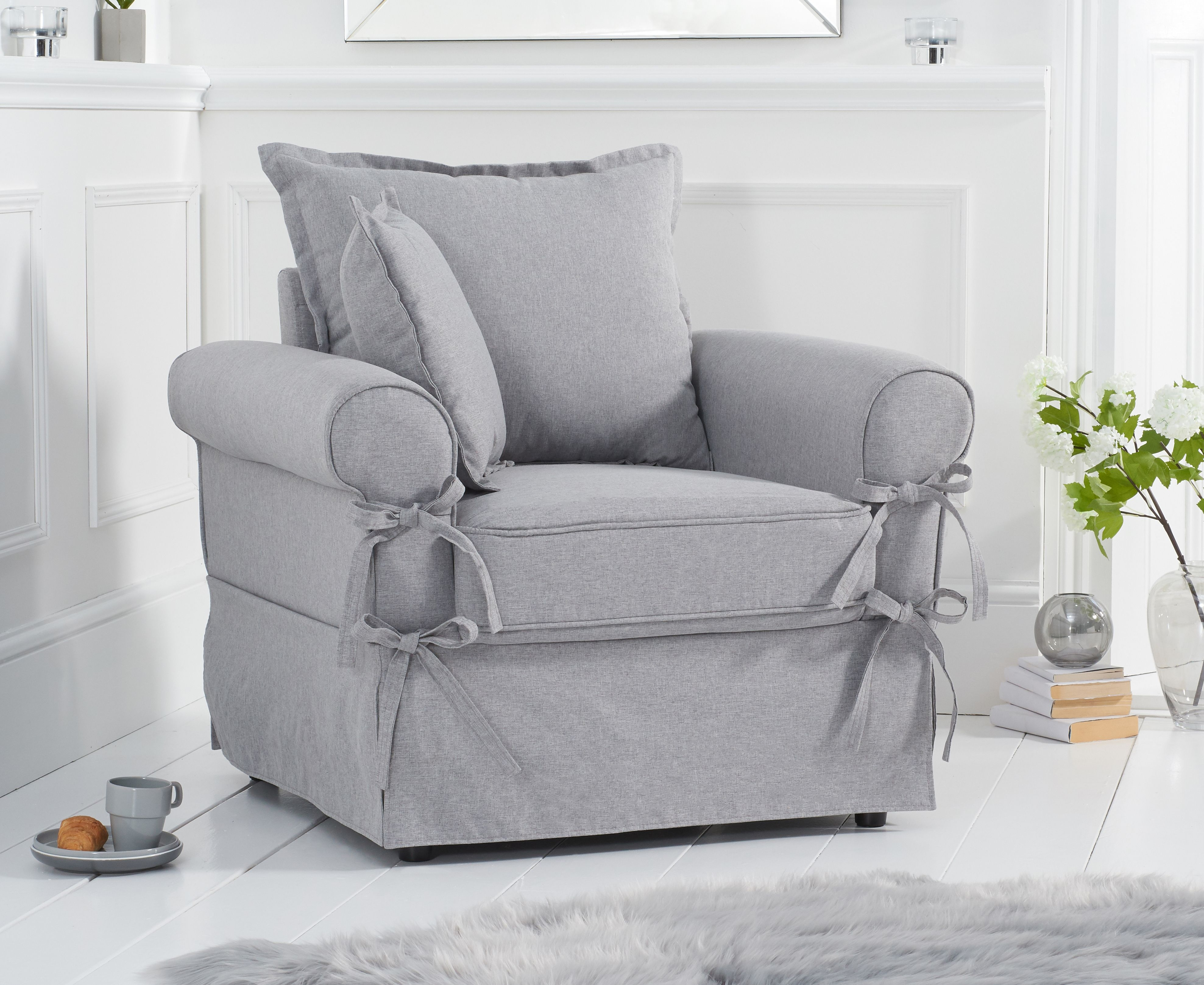 Product photograph showing Clemence Grey Linen Armchair