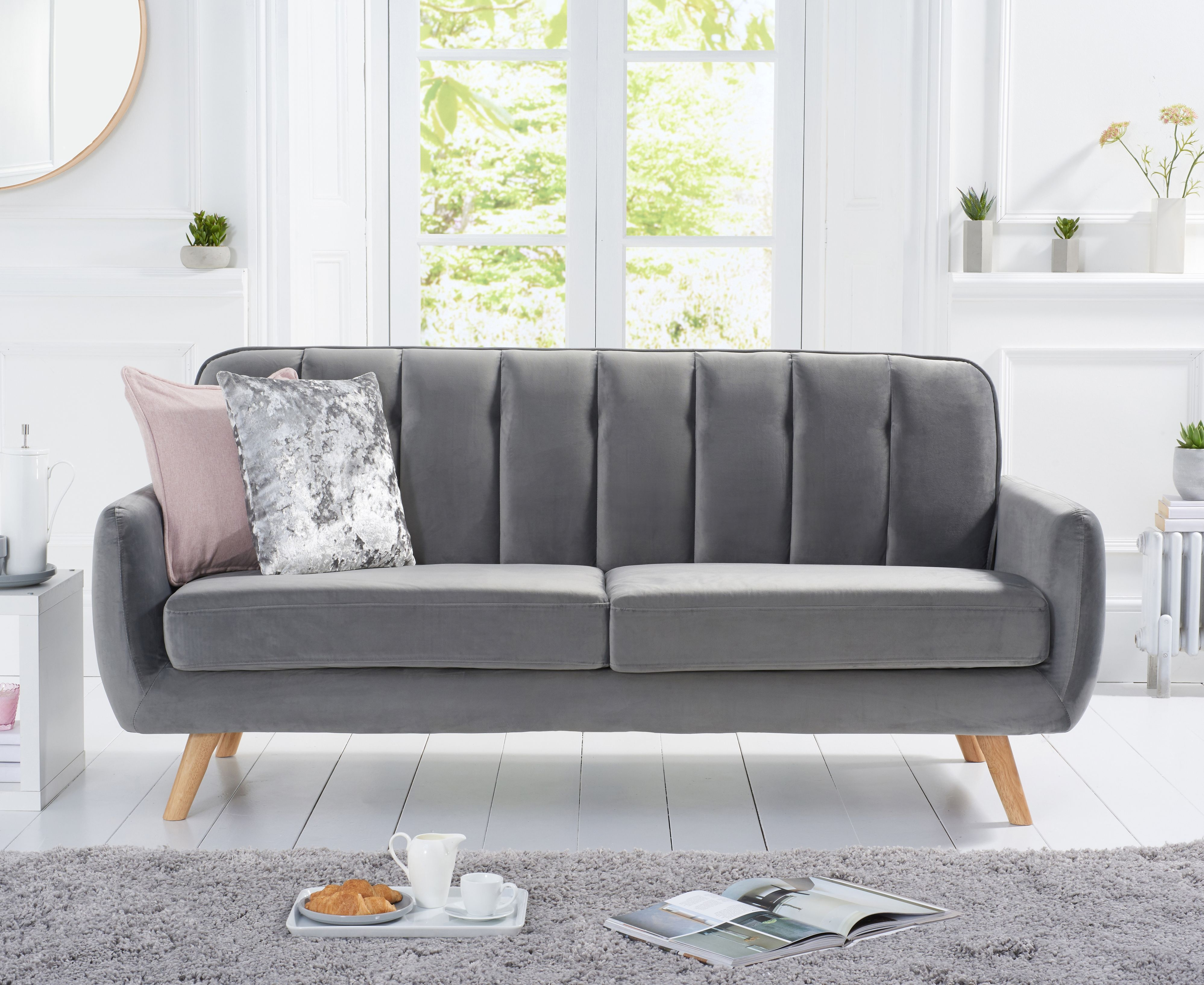 Product photograph showing Coby Grey Velvet 3 Seater Sofa