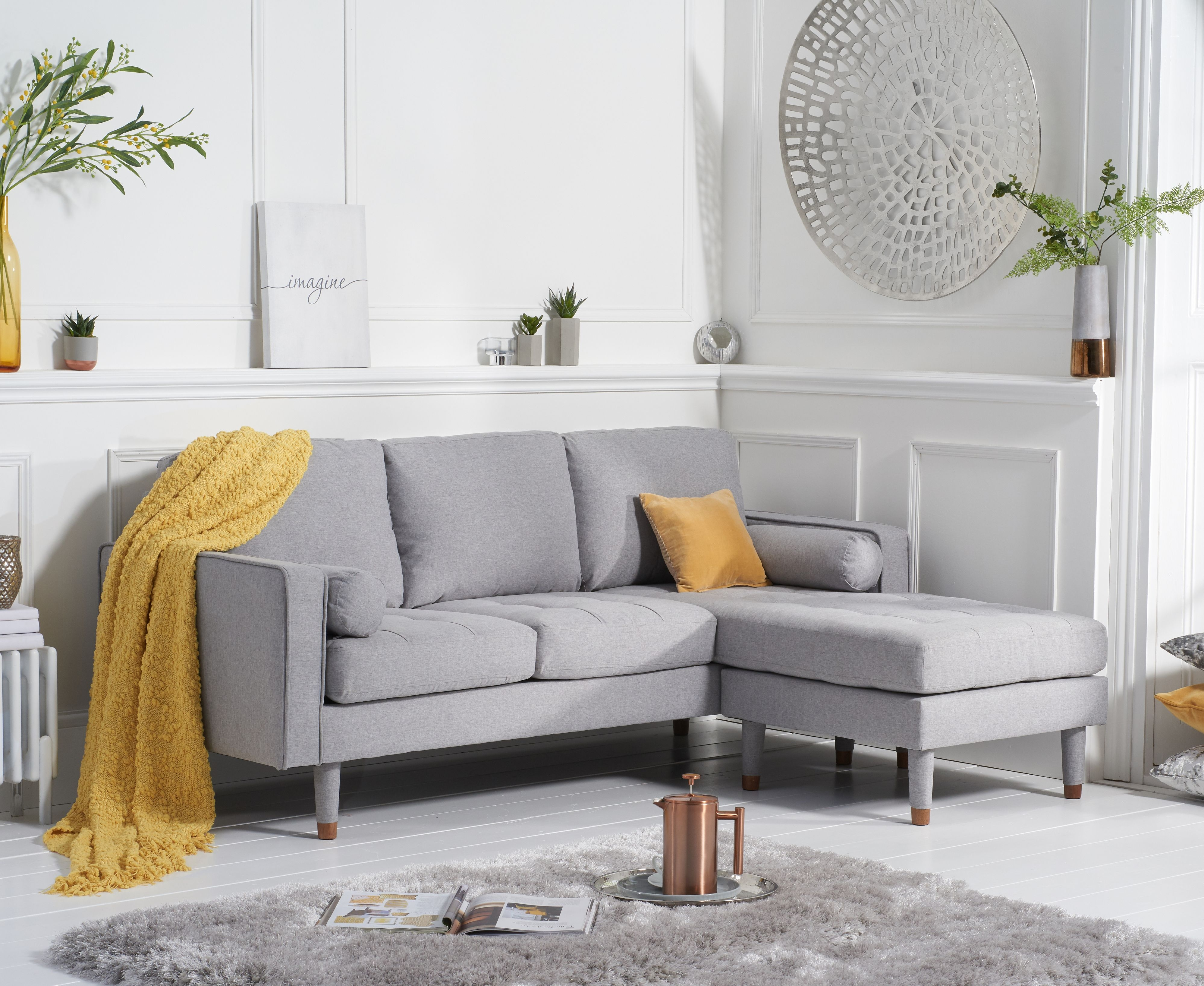 Product photograph showing Lucas Grey Linen 3 Seater Reversible Chaise Sofa