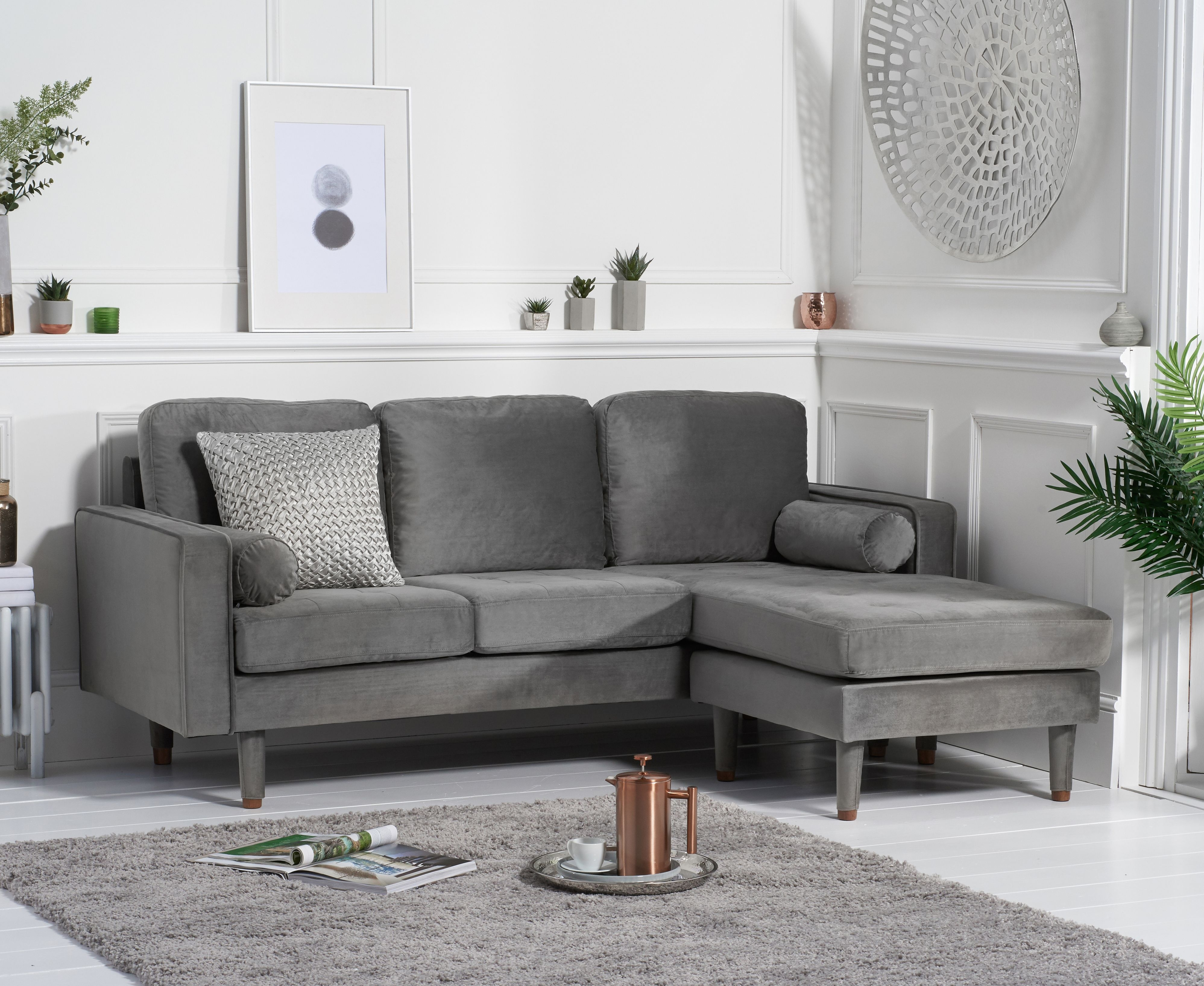 Product photograph showing Lucas Grey Velvet 3 Seater Reversible Chaise Sofa