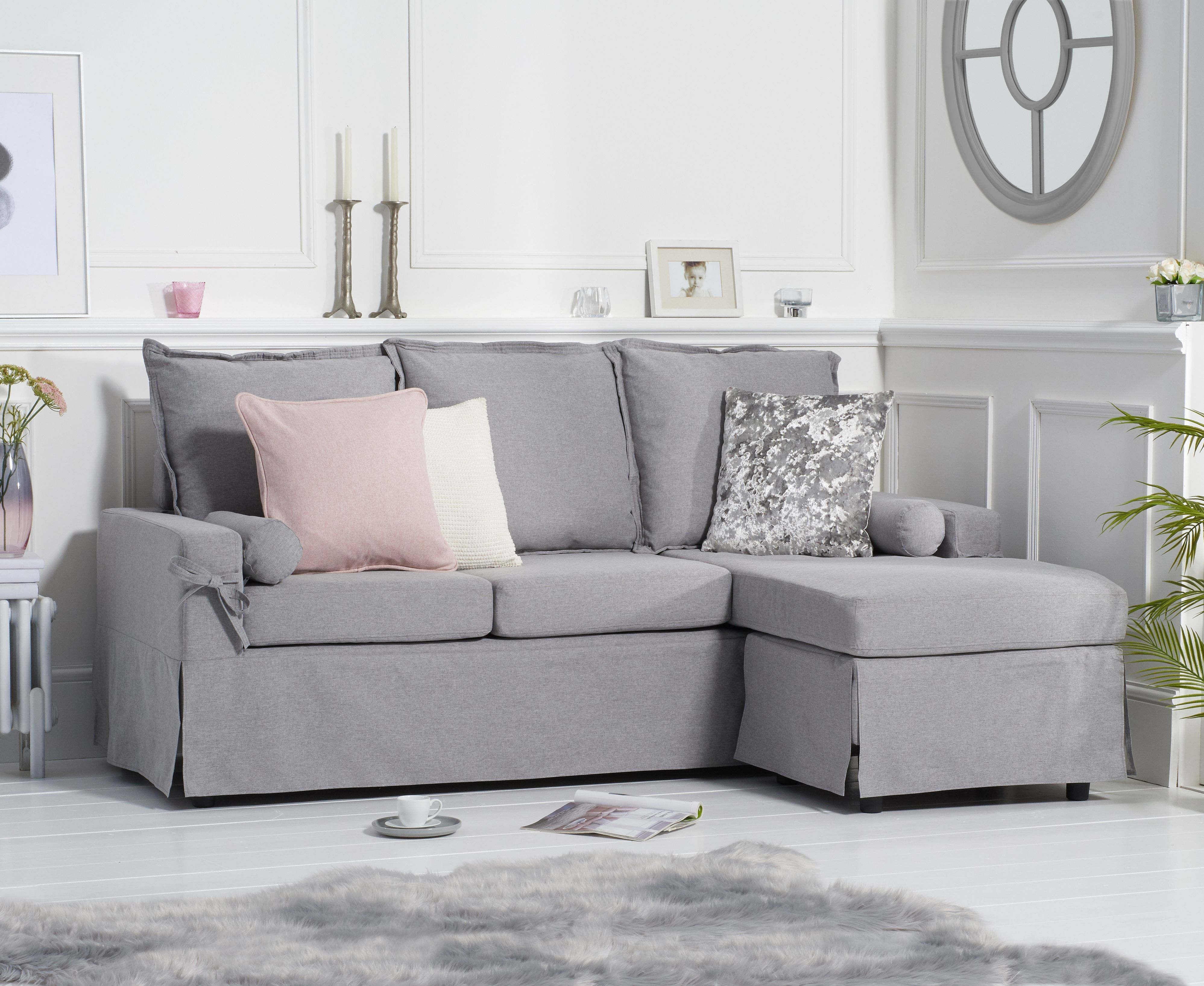 Product photograph showing Clemence Grey Linen 3 Seater Reversible Chaise Sofa