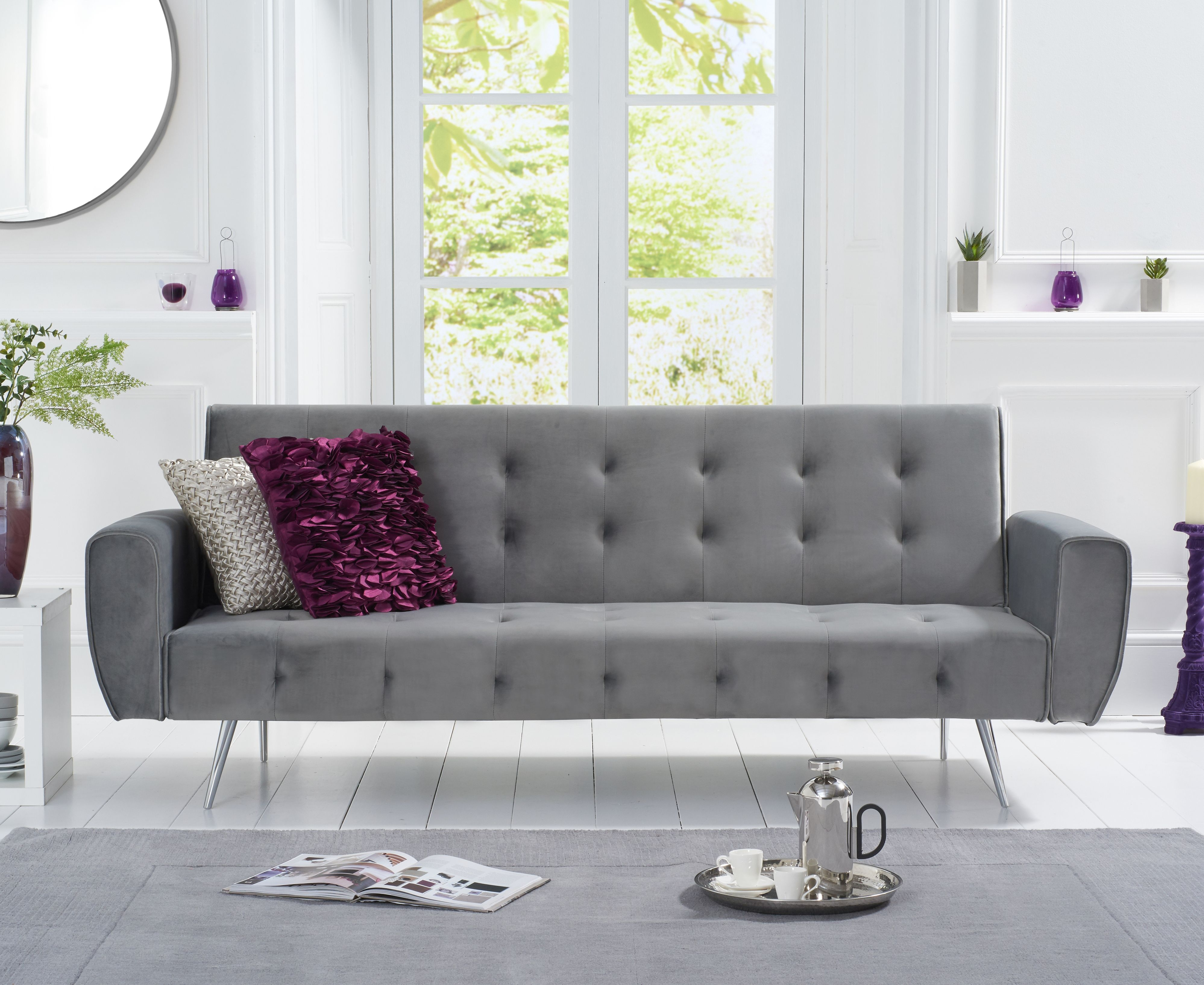 Product photograph showing Vara Sofa Bed In Grey Velvet