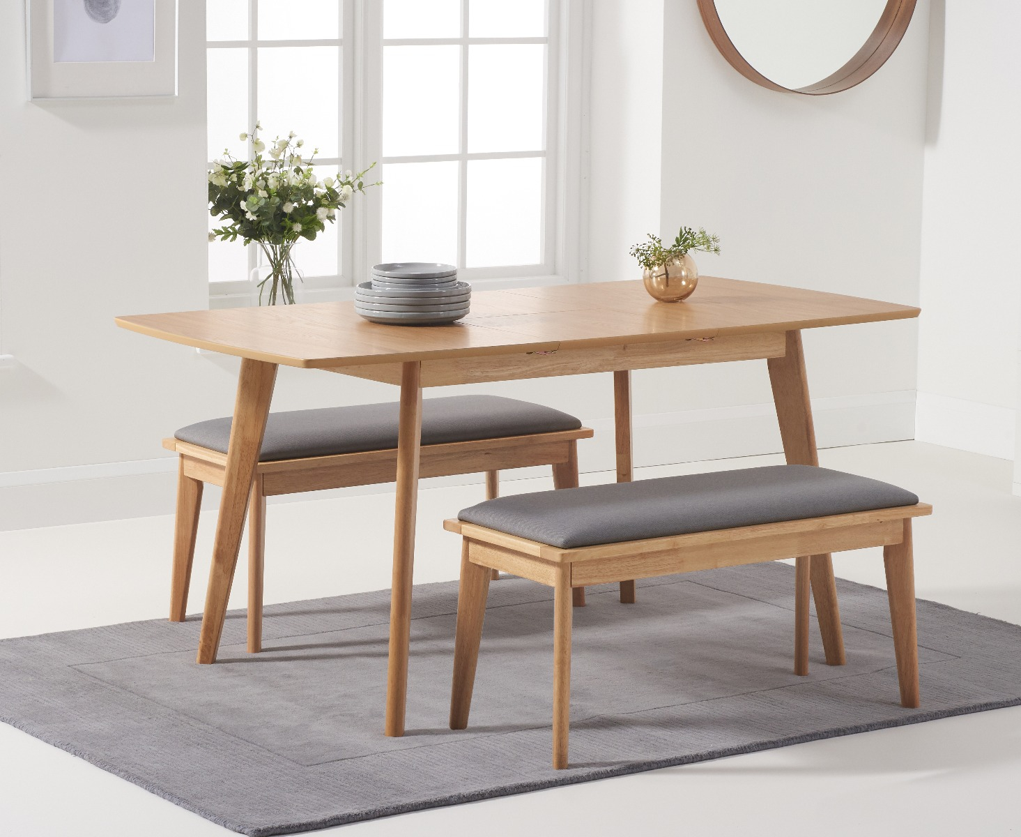 Product photograph showing Sacha 120cm Extending Dining Table With Benches
