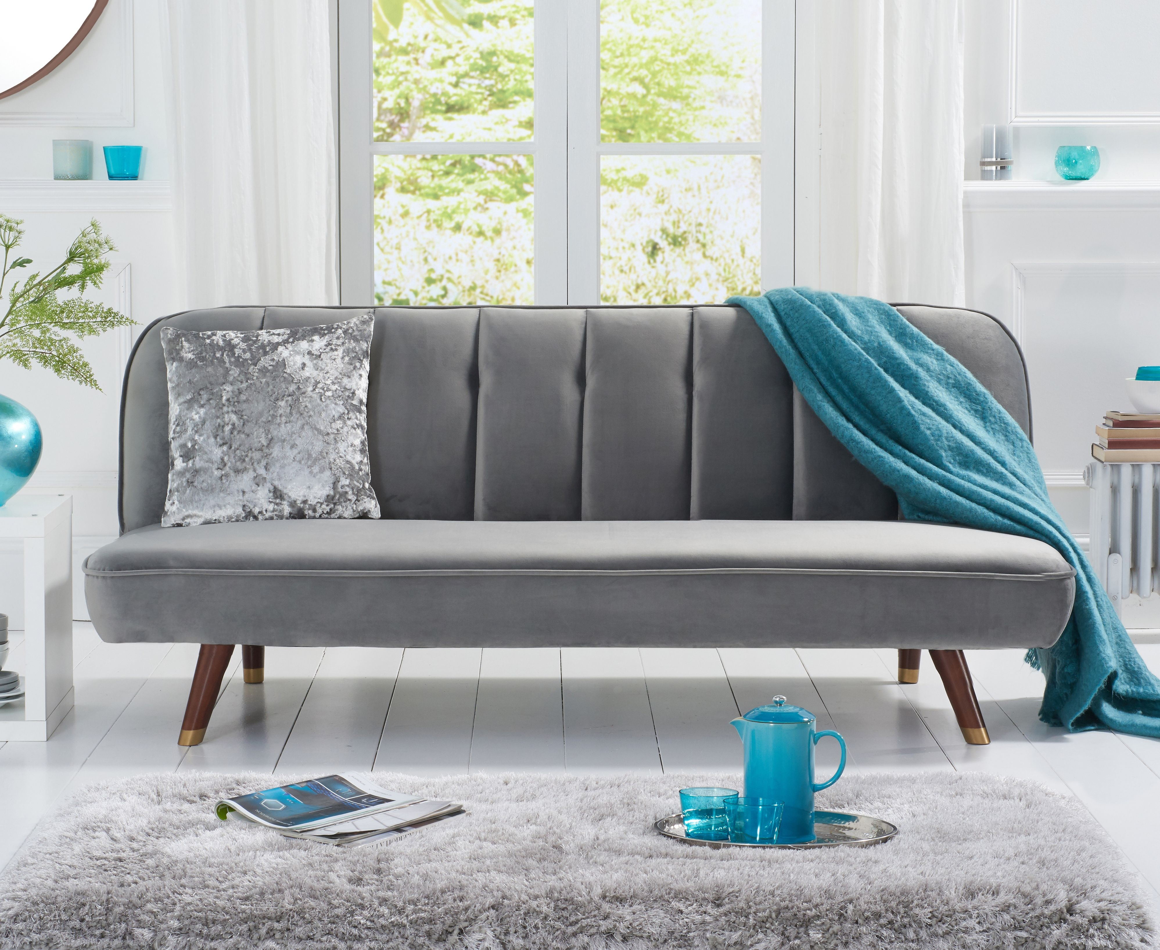 Product photograph showing Julianna Sofa Bed In Grey Velvet