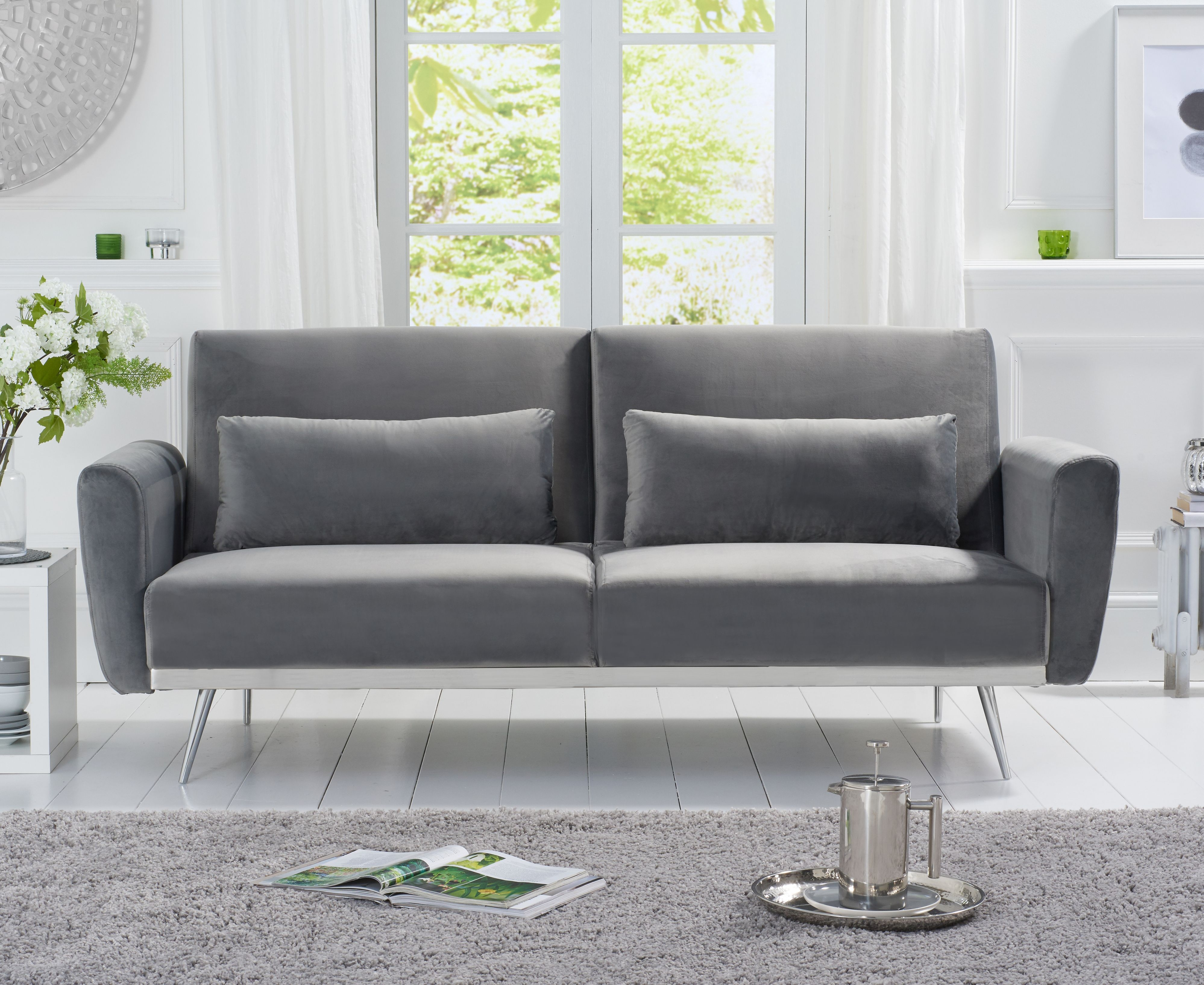 Product photograph showing Emilia Sofa Bed In Grey Velvet