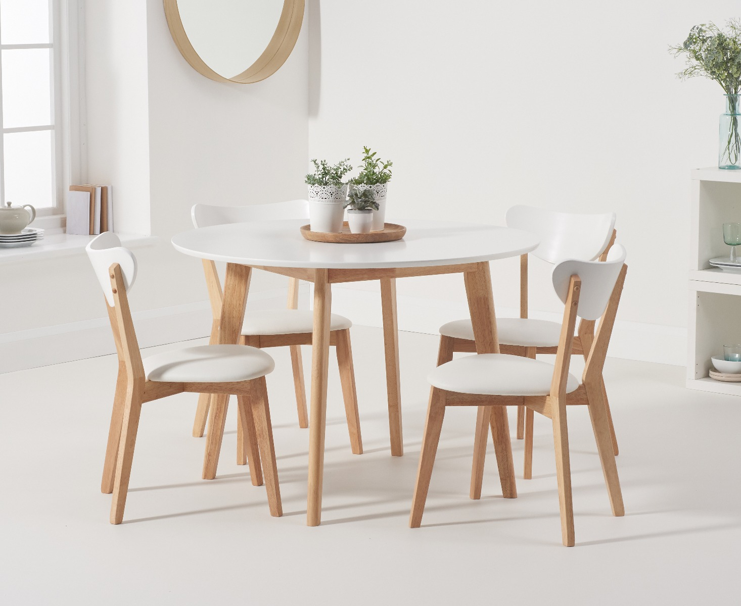 Product photograph showing Rebekah Oak And White 110cm Round Dining Table With Rebekah Chairs