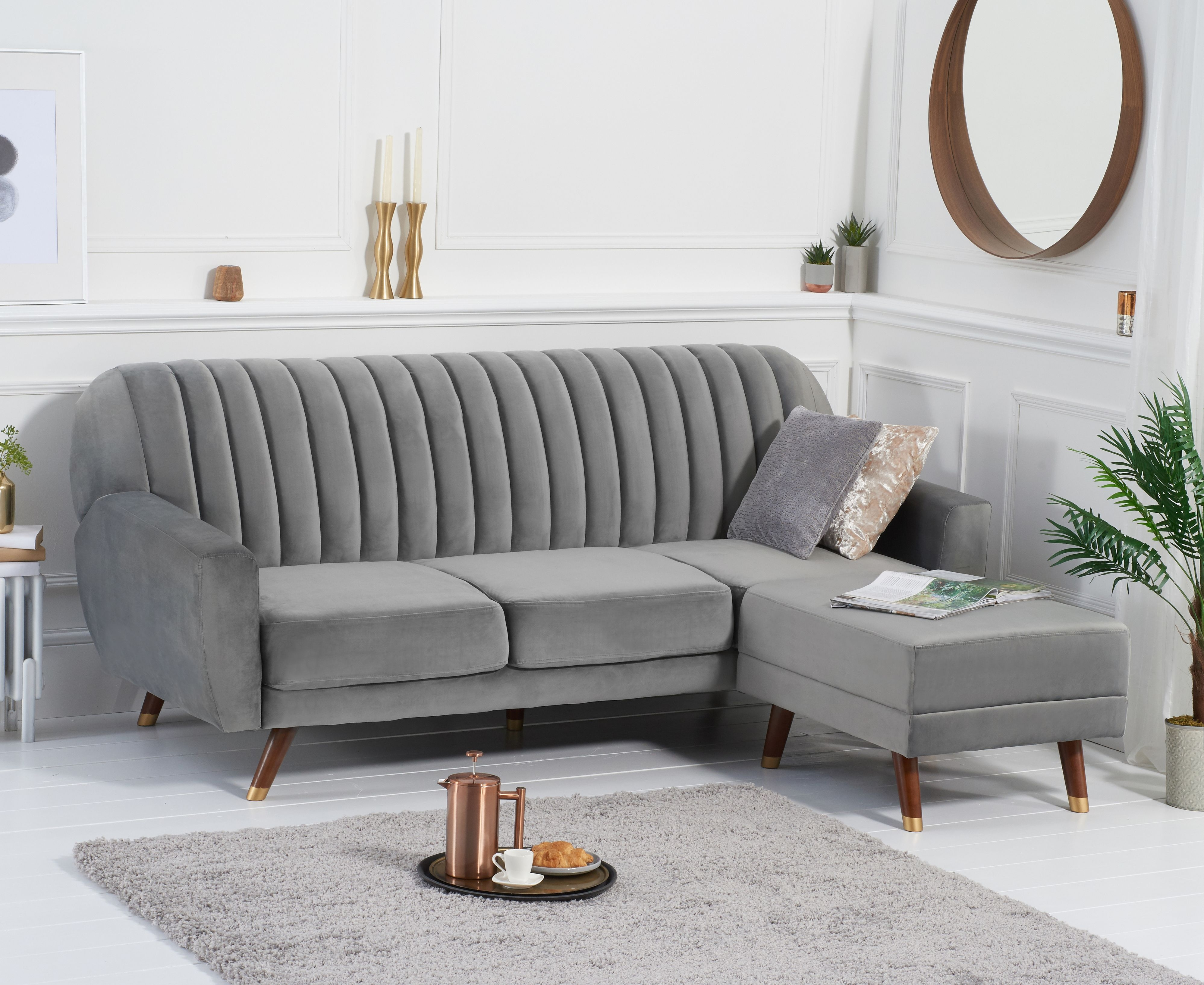 Product photograph showing Luciana Sofa Bed In Grey Velvet