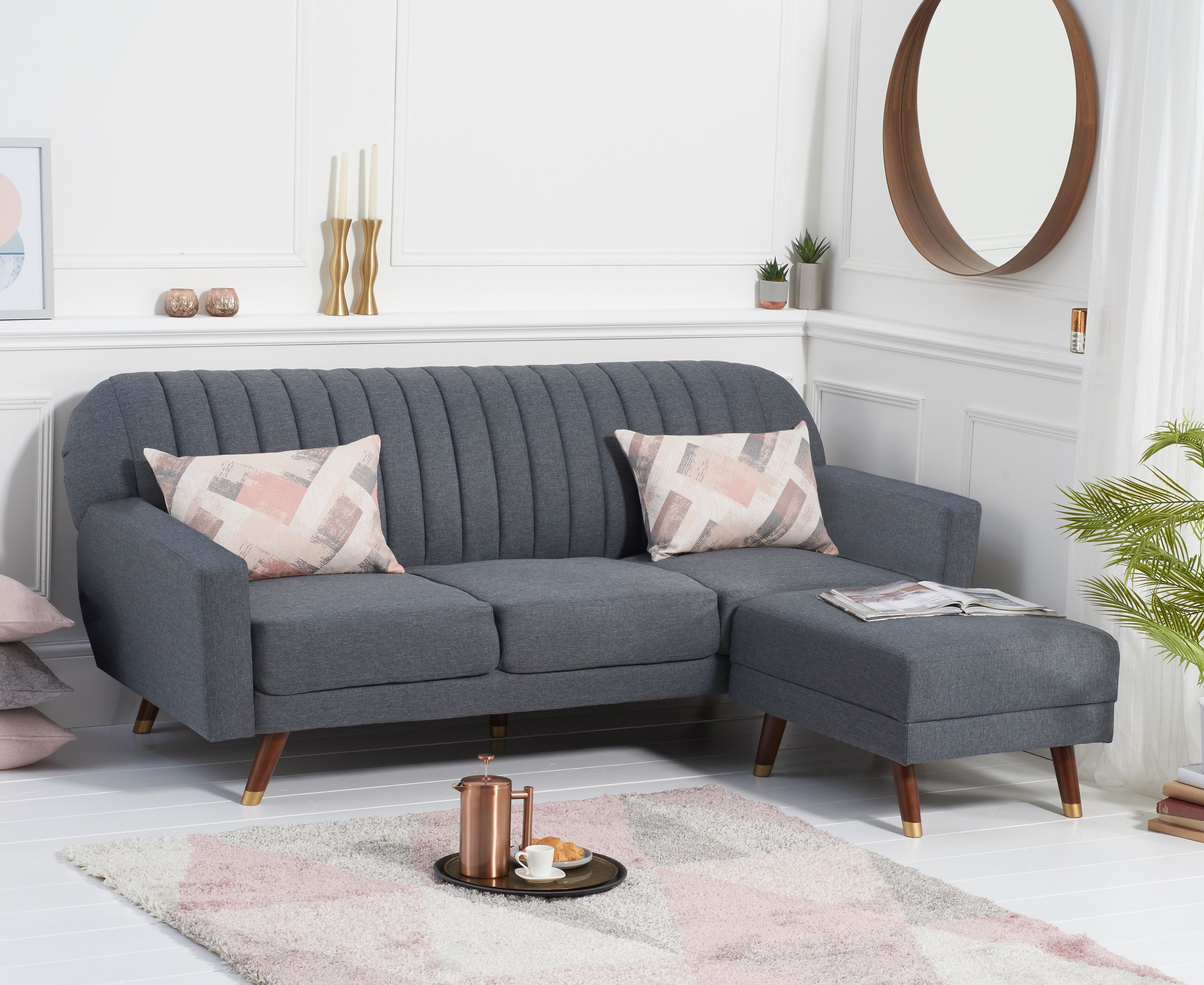 Product photograph showing Luciana Sofa Bed In Grey Linen