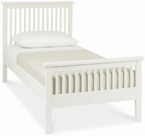Atlanta White High Footend Single Bed with Optional Storage