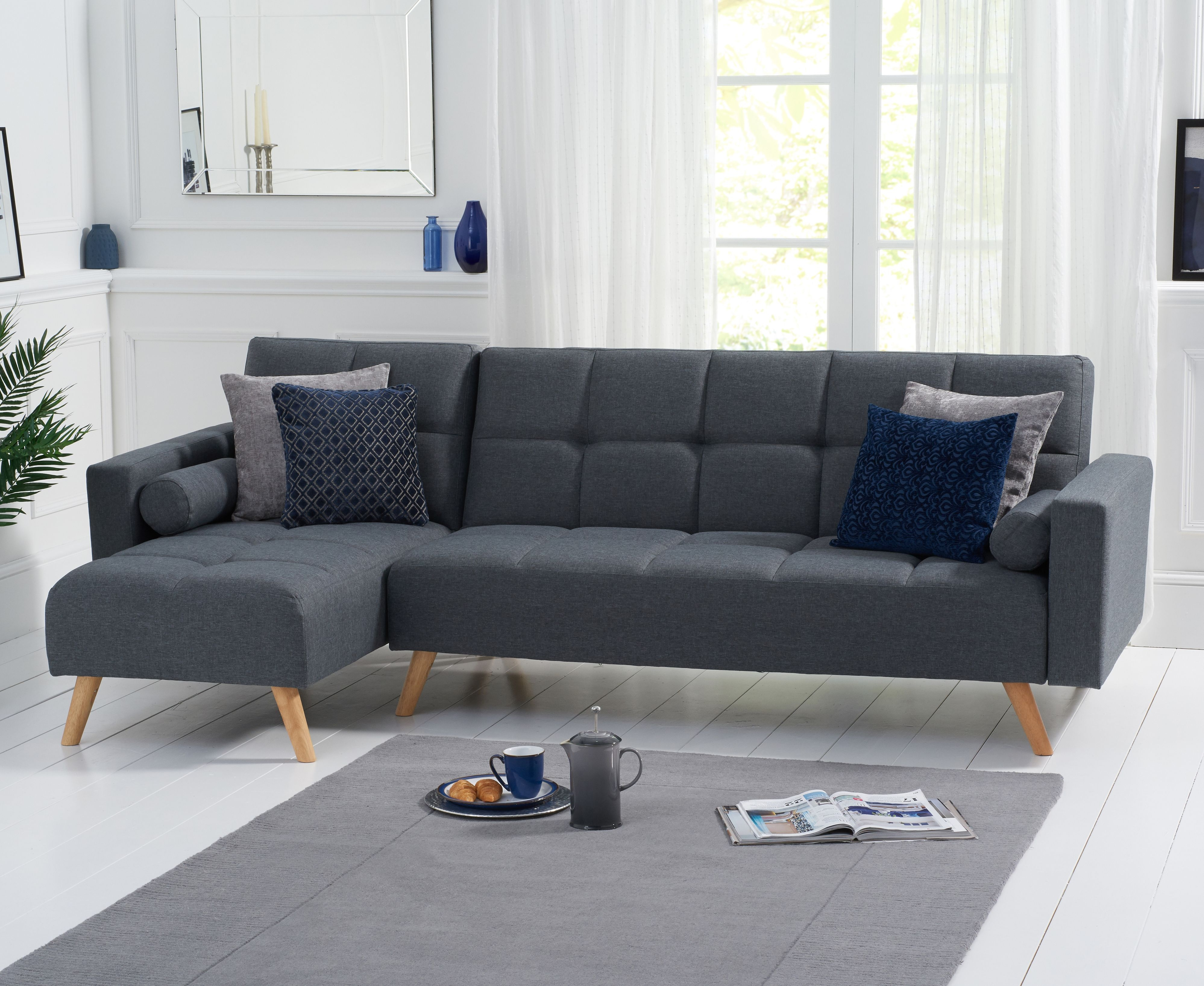 Product photograph showing Addison Sofa Bed Left Facing Chaise In Grey Linen