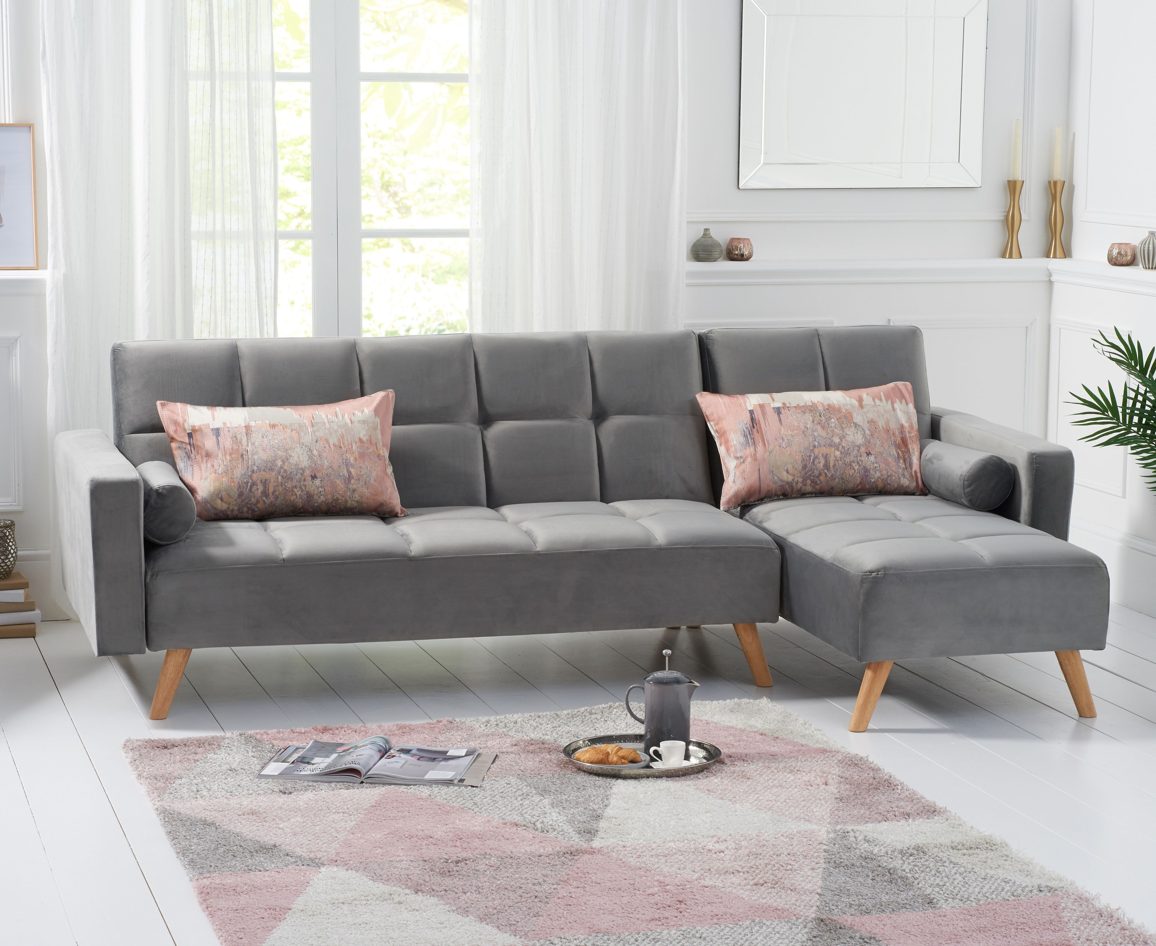 Product photograph showing Addison Sofa Bed Right Facing Chaise In Grey Velvet