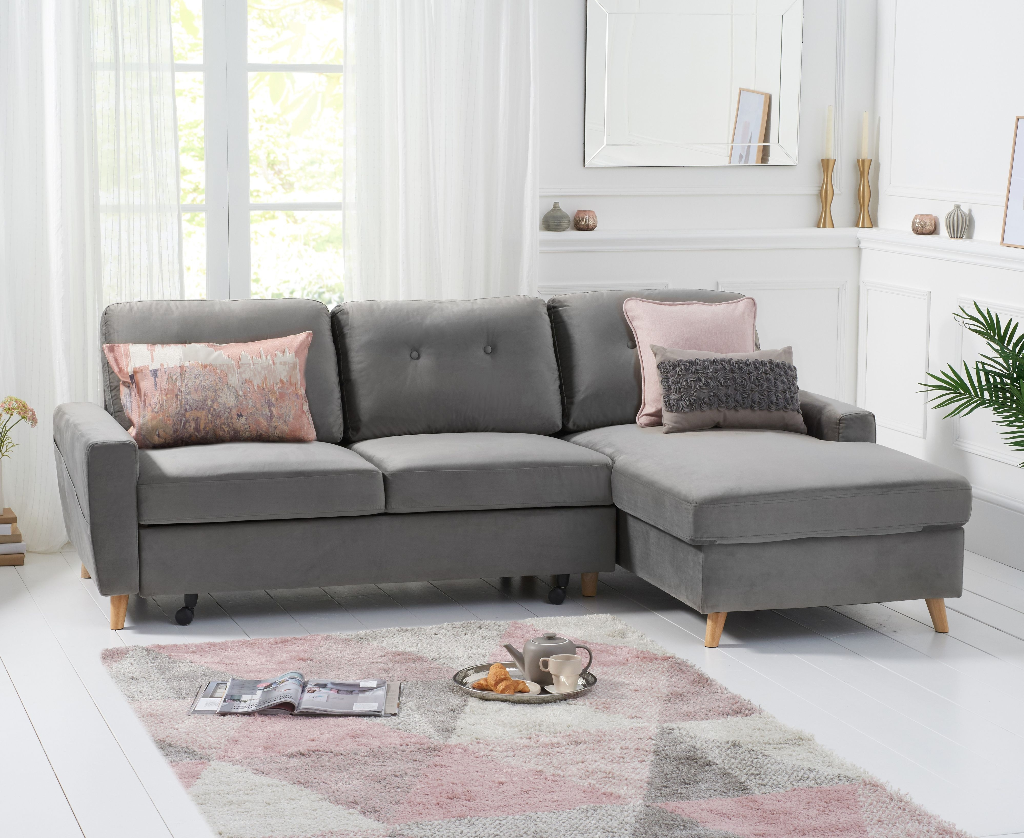 Product photograph showing Christian Sofa Bed Right Facing Chaise In Grey Velvet