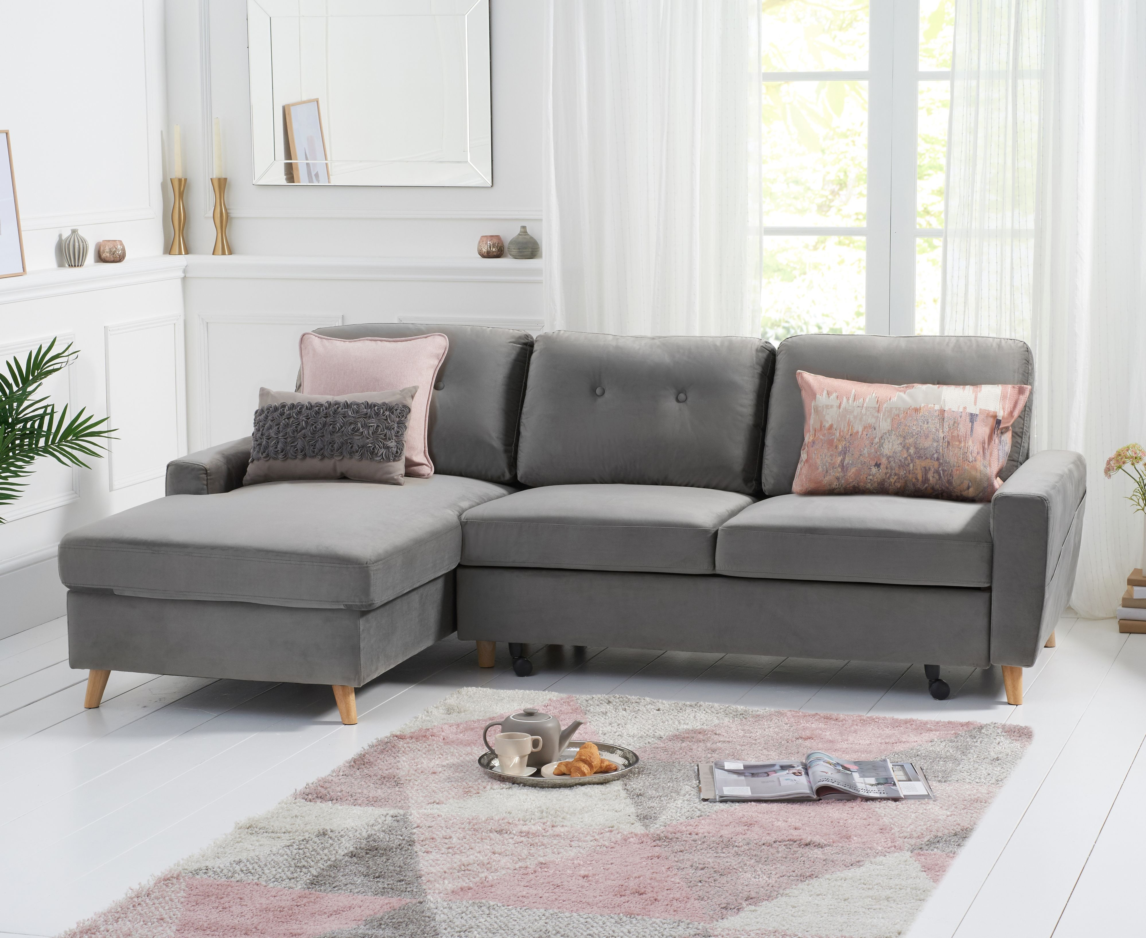 Product photograph showing Christian Sofa Bed Left Facing Chaise In Grey Velvet