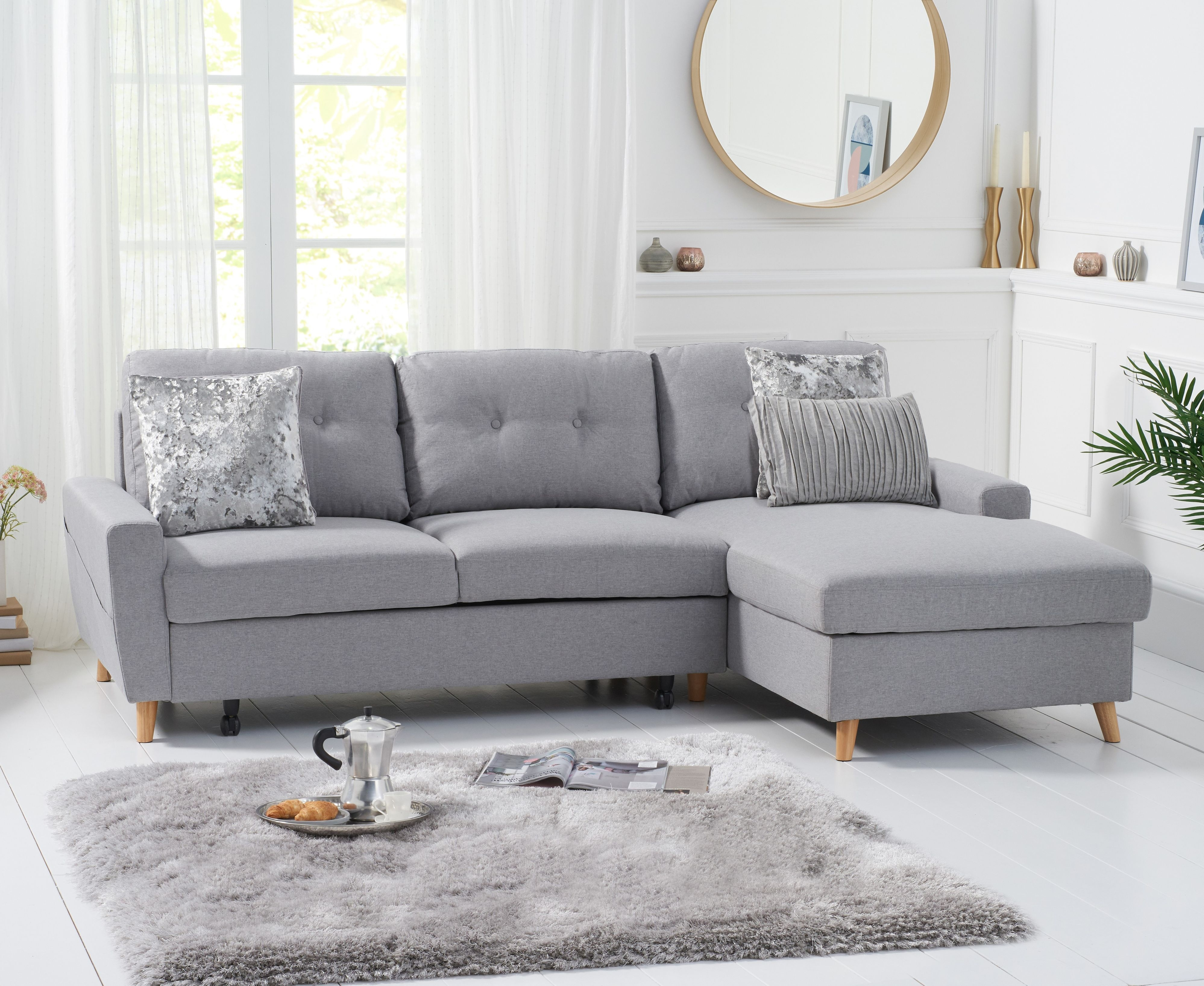 Product photograph showing Christian Sofa Bed Right Facing Chaise In Grey Linen