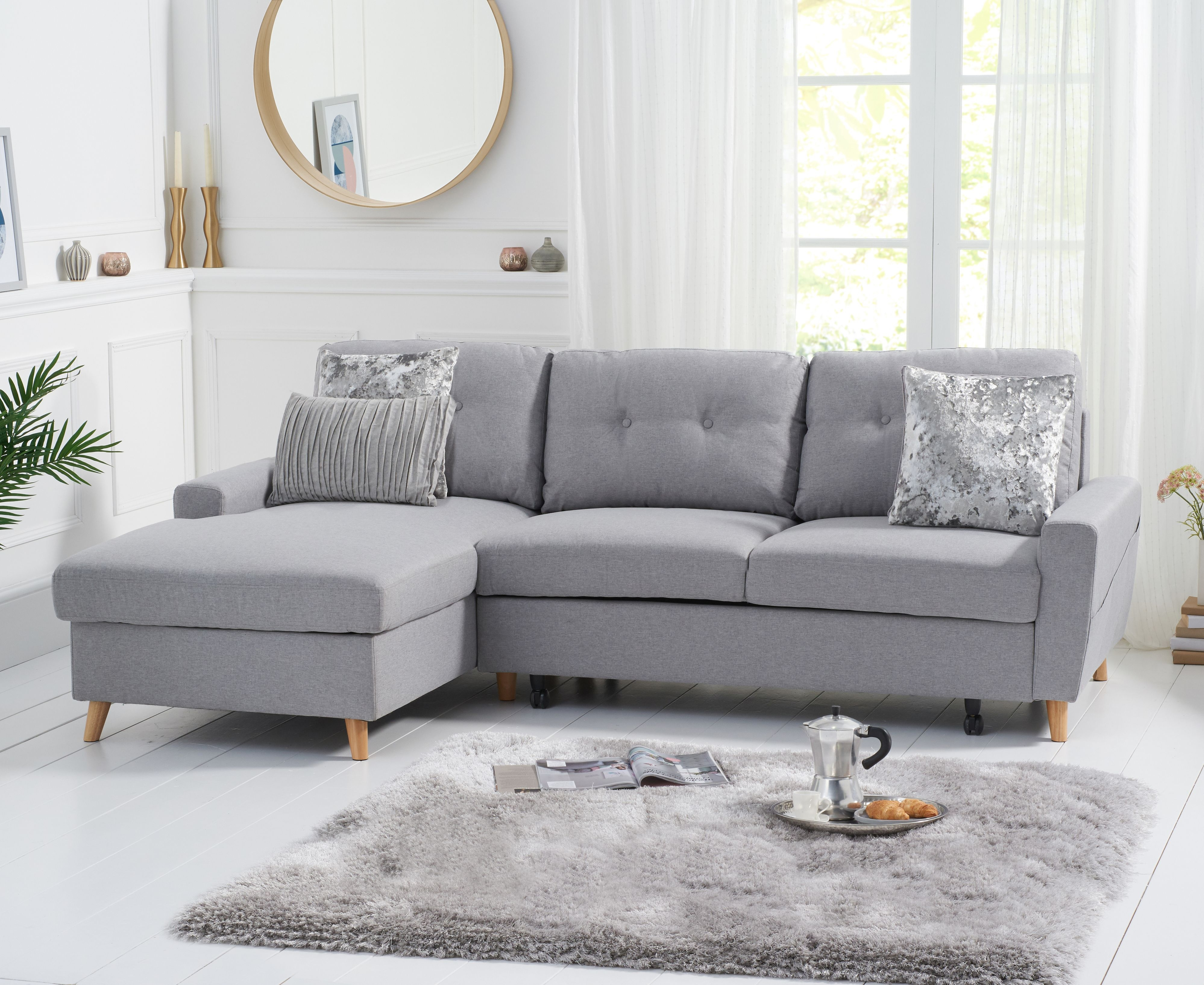 Product photograph showing Christian Sofa Bed Left Facing Chaise In Grey Linen