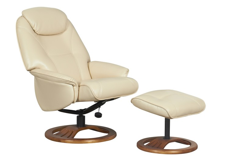 Oslo Cream Bonded Leather Recliner with Footstool