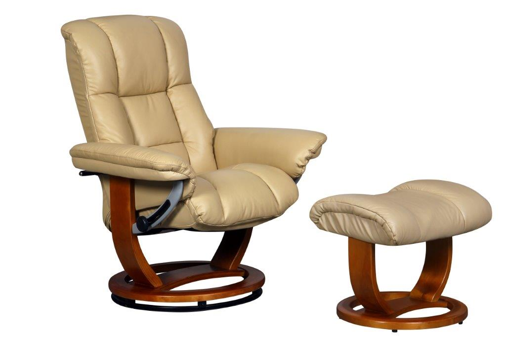 Windsor Large Leather Recliner in Cream with Footstool