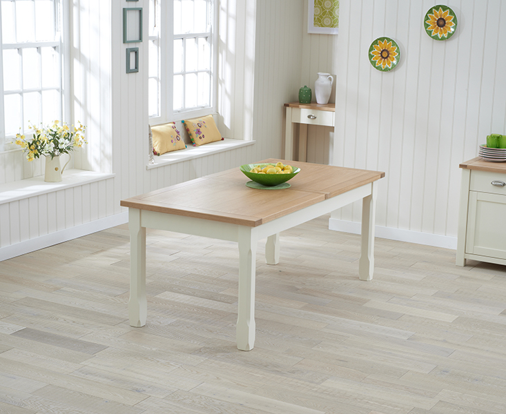 Somerset 180cm Oak and Cream Extending Dining Table