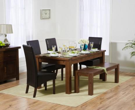 Rustique 180cm Dark Oak Extending Dining Table with WNG Chairs and a Bench