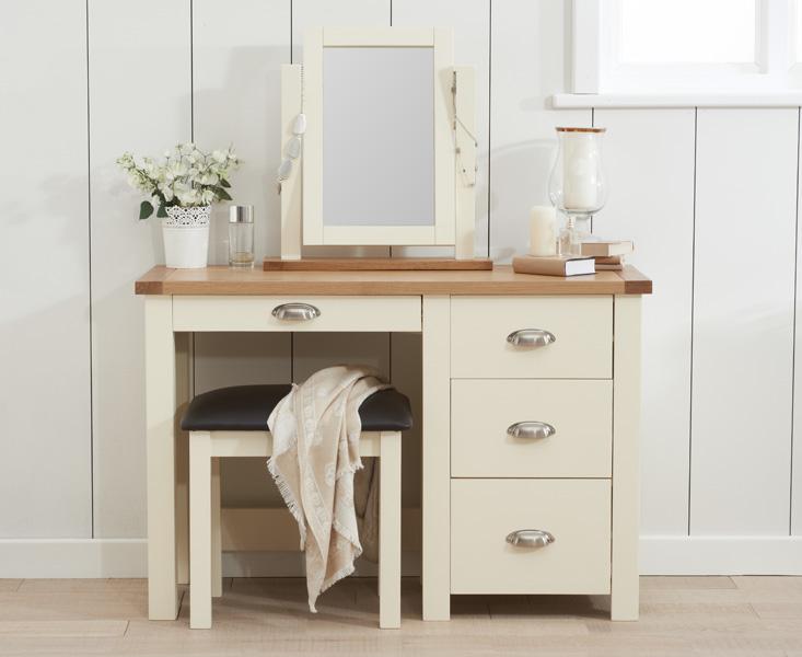 An image of Somerset Oak and Cream Single Pedestal Dressing Table Set