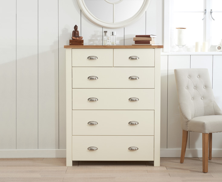 Somerset Oak and Cream 2 Over 4 Drawer Chest
