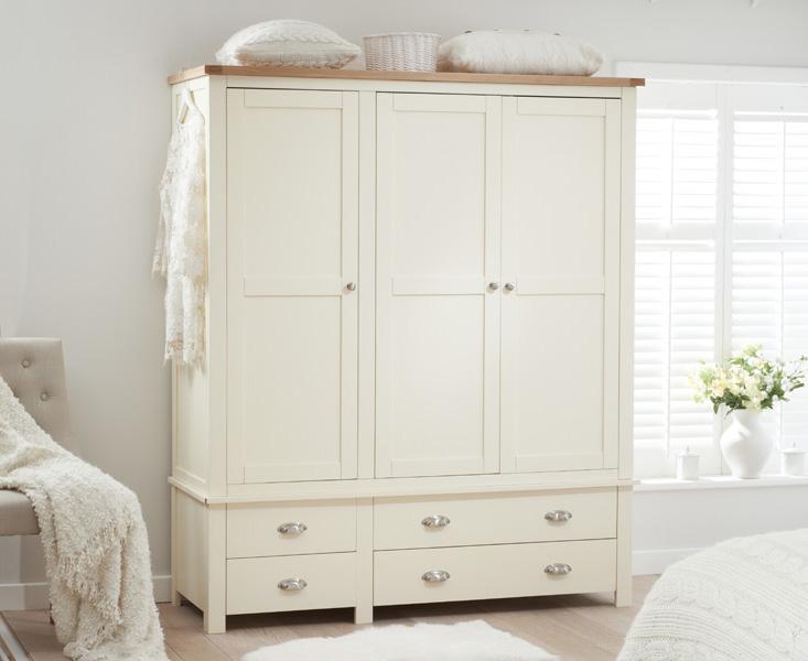 Somerset Oak and Cream 3 Door 4 Drawer Wardrobe