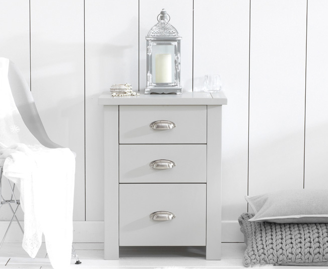 Somerset Grey Tall 3 Drawer Bedside Table