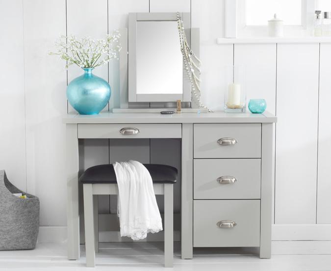 An image of Somerset Grey Single Pedestal Dressing Table Set