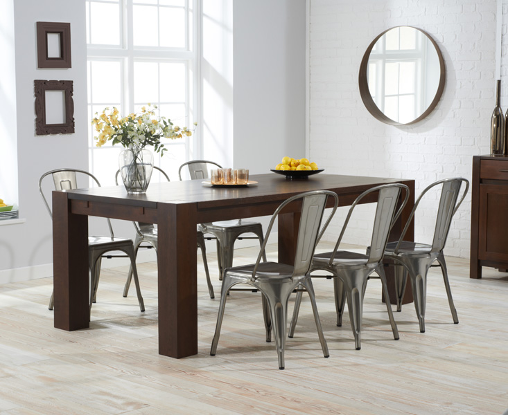 Madrid 200cm Dark Oak Extending Dining Table with Tolix Industrial Style Dining Chairs