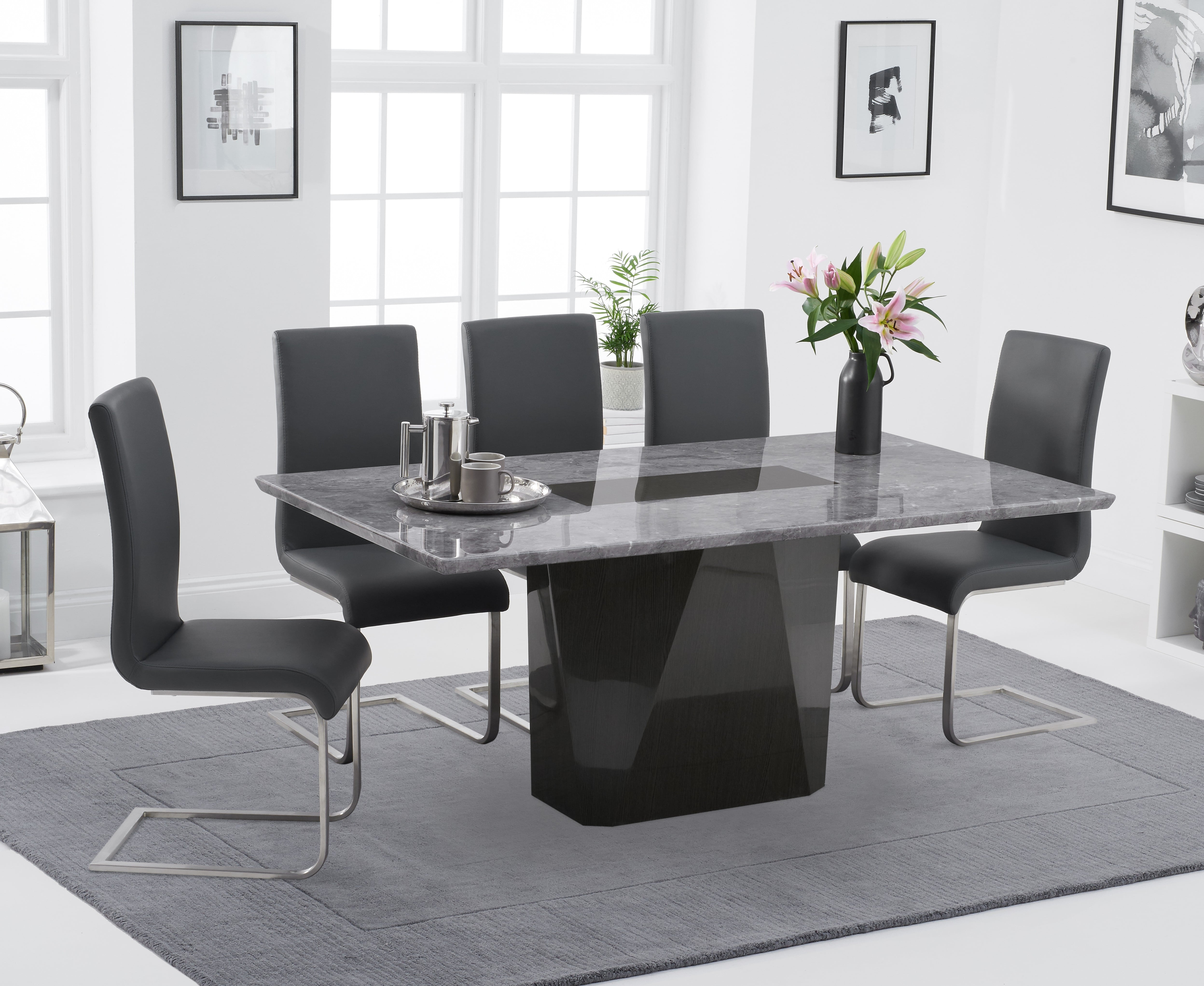 Product photograph showing Marly 180cm Light Grey Marble Dining Table With Malaga Chairs