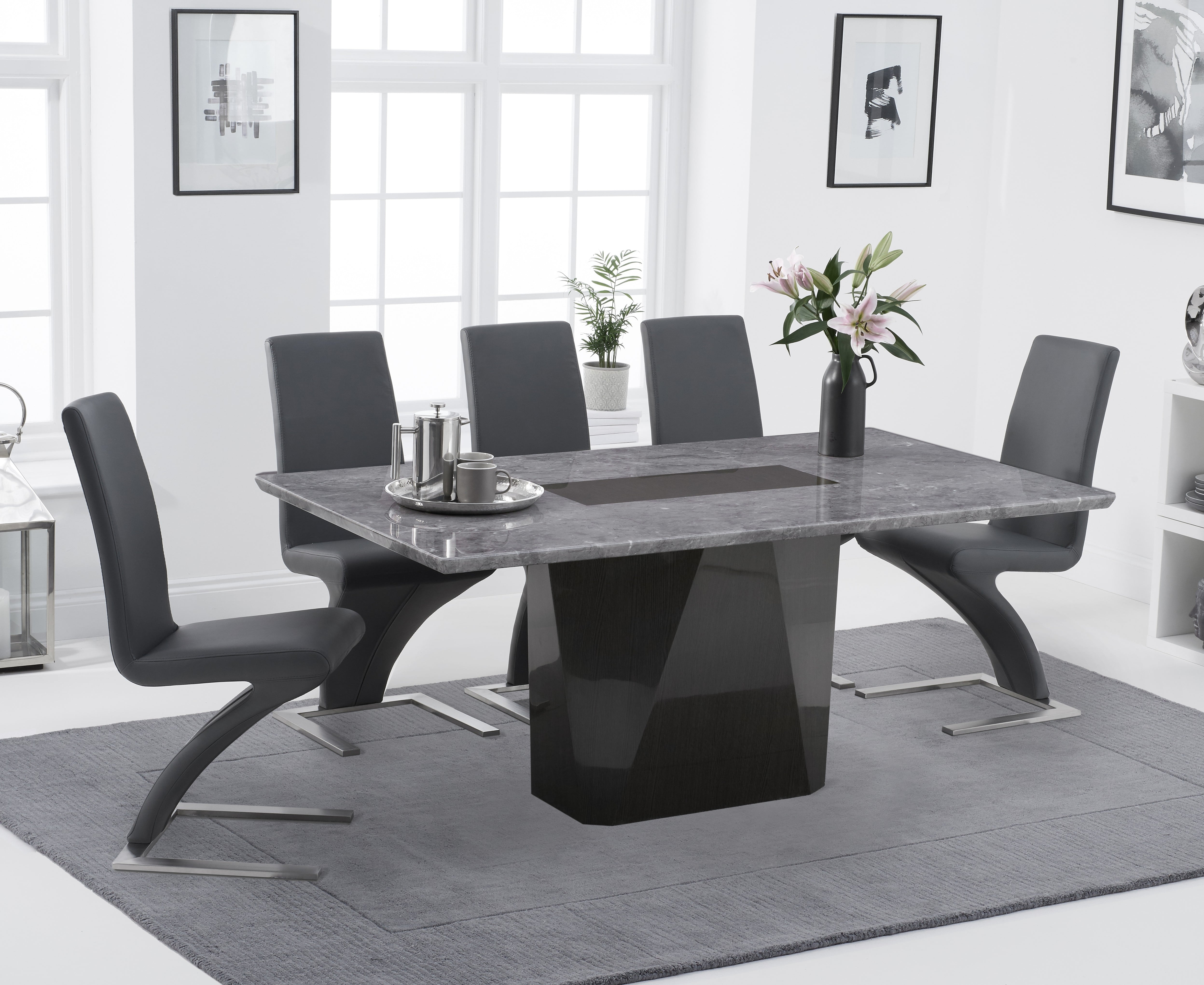 Product photograph showing Marly 180cm Light Grey Marble Dining Table With Hampstead Z Chairs