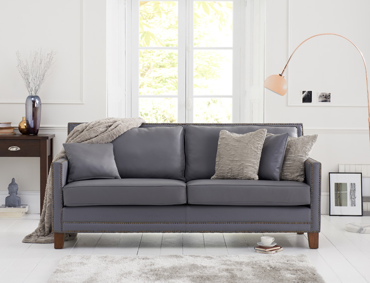 Aston Grey Leather 3 Seater Sofa