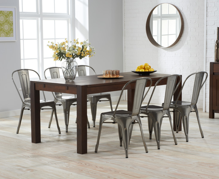 Verona 180cm Dark Solid Oak Dining Table with Tolix Industrial Style Dining Chairs