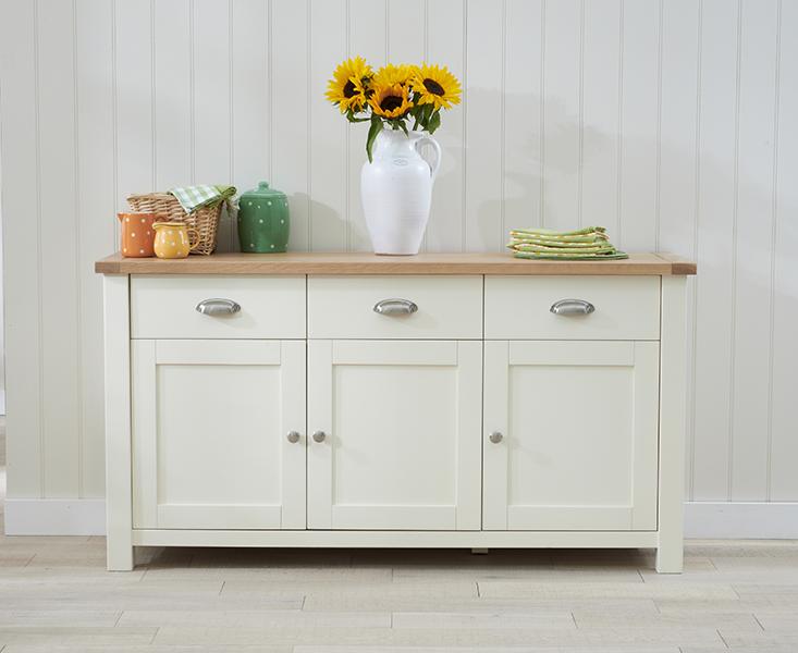 Somerset 3 Door 3 Drawer Oak and Cream Sideboard