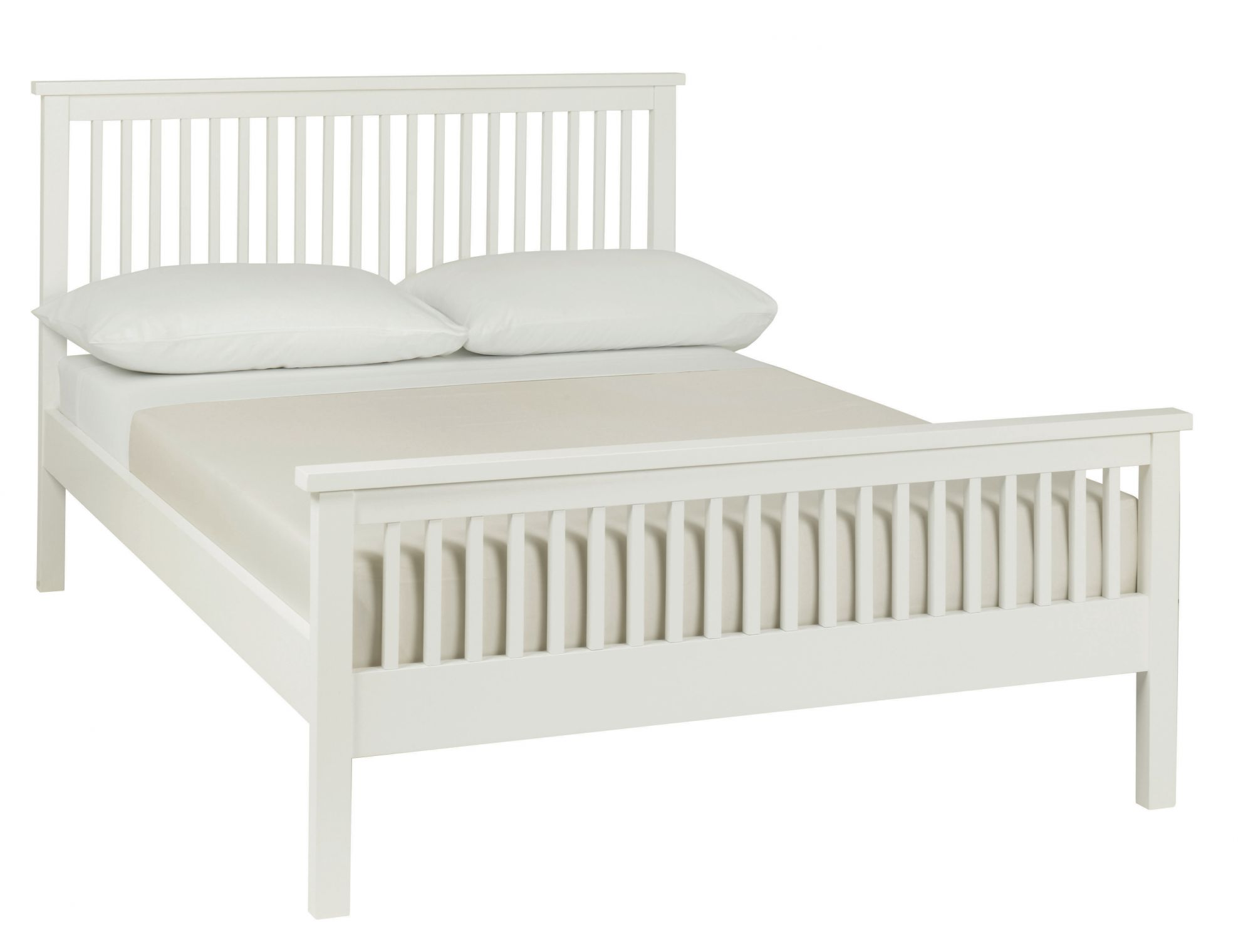 Atlanta White High Footend King Size Bed with Optional Storage