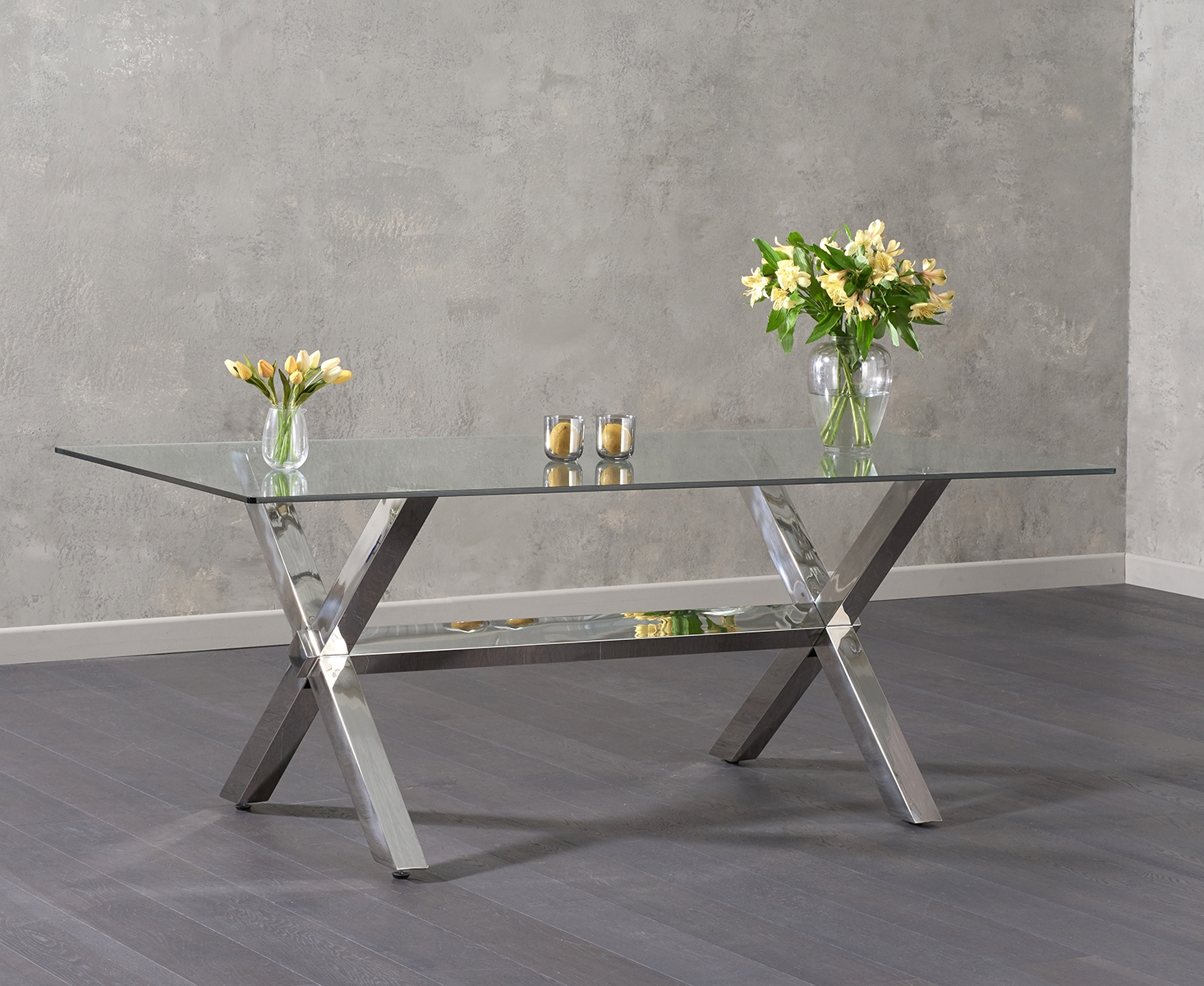 An image of Rexford 200cm Glass Dining Table
