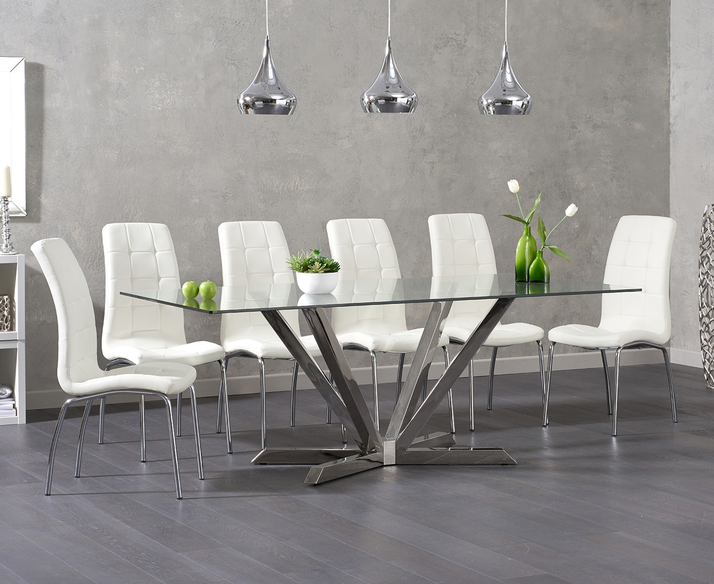 Ray 200cm Glass Dining Table with Calgary Chairs