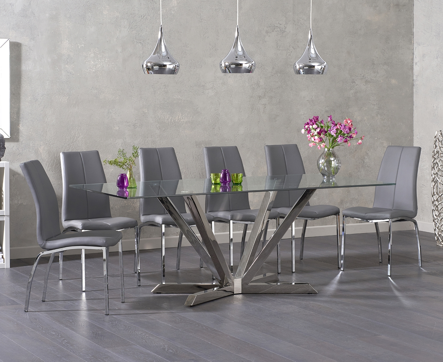 Ray 200cm Glass Dining Table with Cavello Chairs