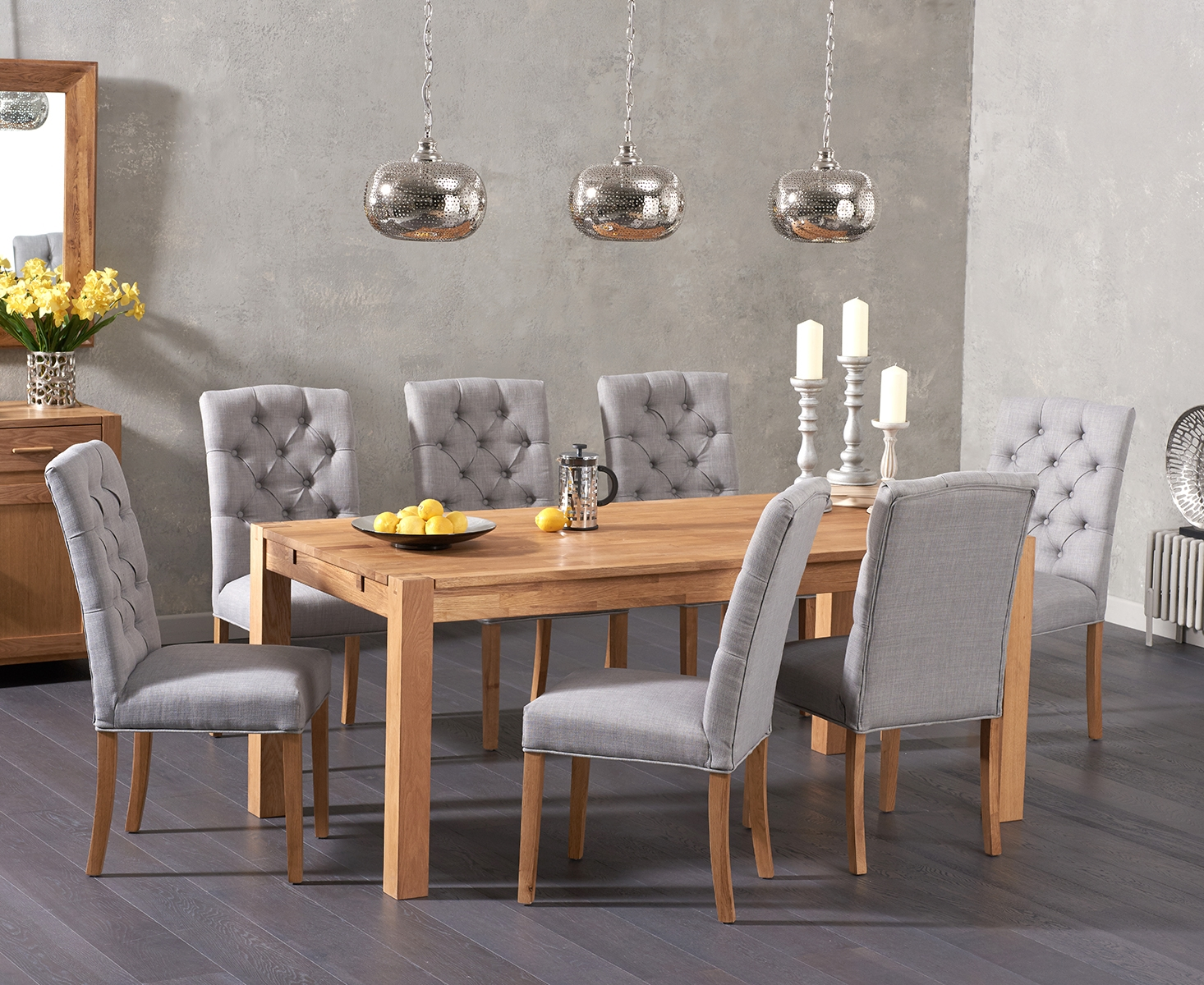 An image of Verona 150cm Solid Oak Dining Table with Candice Fabric Chairs