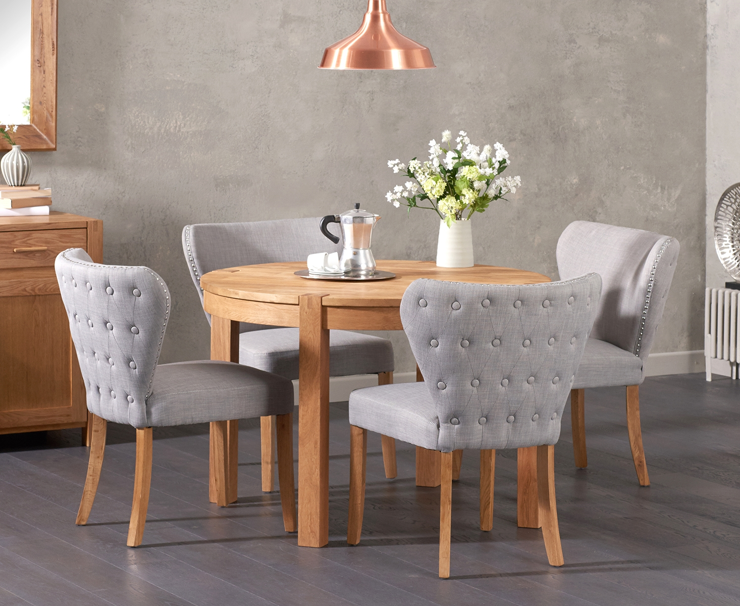 An image of Verona 110cm Solid Oak Round Table with Imogen Fabric Chairs
