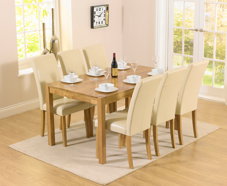 Oxford 150cm Solid Oak Dining Set with Albany Cream Chairs