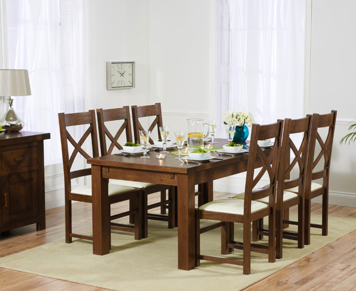 Rustique 180cm Dark Solid Oak Extending Dining Table with 8 Cheshire Chairs