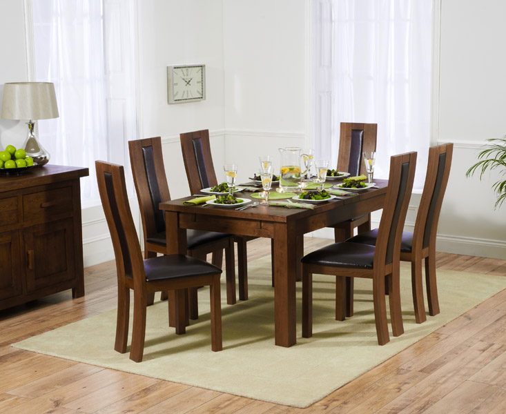 Rustique 150cm Dark Solid Oak Extending Dining Table with 8 Toronto Chairs