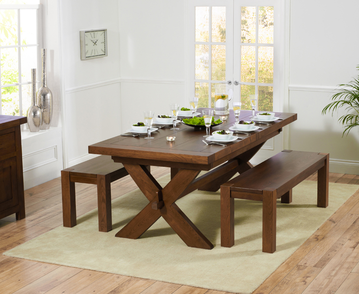 Bordeaux 200cm Dark Solid Oak Extending Dining Table with Benches